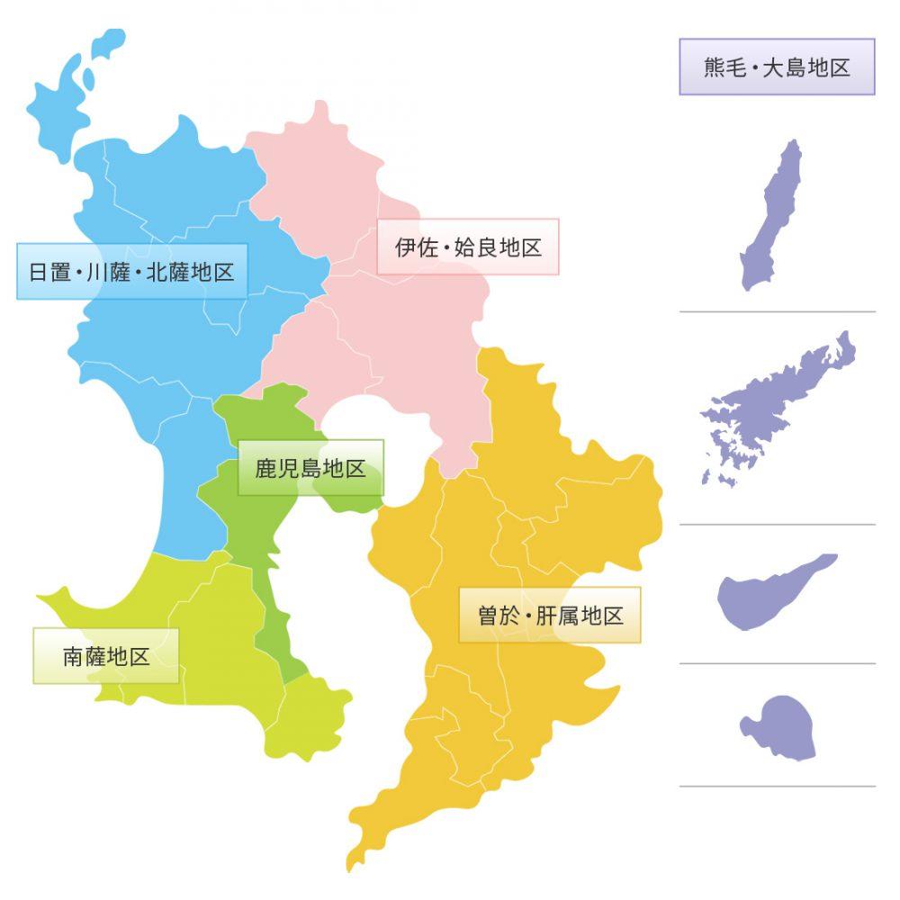 鹿児島県地区別マップ